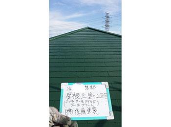 屋根 上塗り2回目