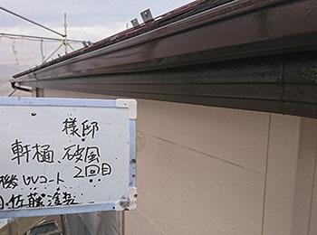 軒樋、破風 上塗り2回目