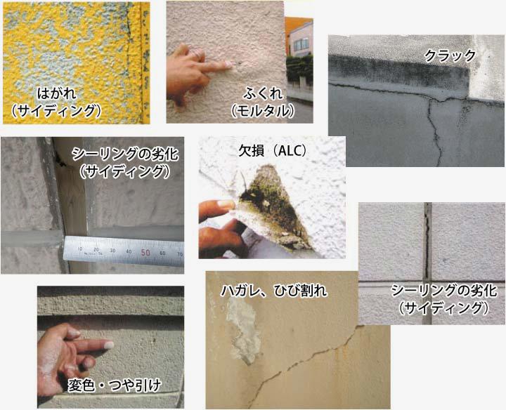 外壁のひび割れ、ハガレ、劣化、サイディング、変色・ツヤ引けなど…